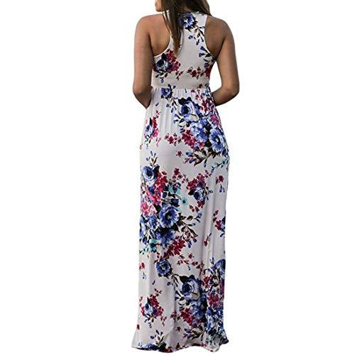 Maxi Con Xxl Donna White Da White Floreale Lunghe Puwenycc Size Maniche color Abito Estate Casual wIUqCcx0g