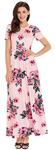 Sleeve T Tunic Dress Swing CoolEnding Tie Casual Shirt Women Pink Dress floral Dye Long Ombre HZcYxtp