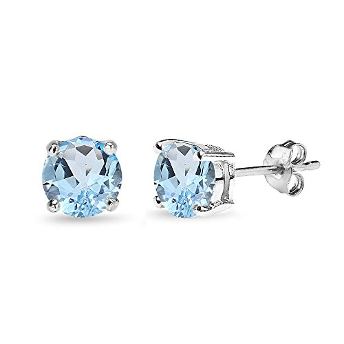 (Sterling Silver Blue Topaz 7mm Round-Cut Solitaire Stud Earrings)