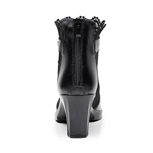 Ete Bottines Chunky Arrière Toe Zipper Femmes Talons Cheville Noir Robe Dentelle Maille Chaussures Peep Sandales T5q1BW