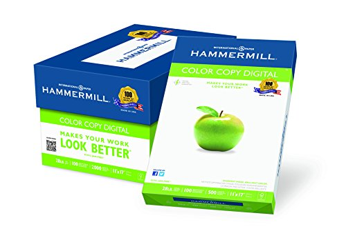 28 Lb Case (Hammermill Paper, Color Copy Digital, 28lb, 11 x 17, Ledger, 100 Bright, 2000 Sheets / 4 Ream Case (102541C), Made In The)