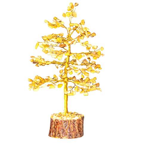 Crocon Natural Healing Gemstone Crystal Bonsai Fortune Money Tree for Good Luck, Wealth Health & Prosperity Spiritual Gift Size-10 INCH (Yellow Aventurin (Golden Wire))