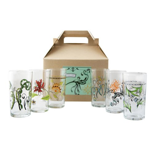 Fishs Eddy Floral Italian Wine Glasses Gift Box, Set of 6 -