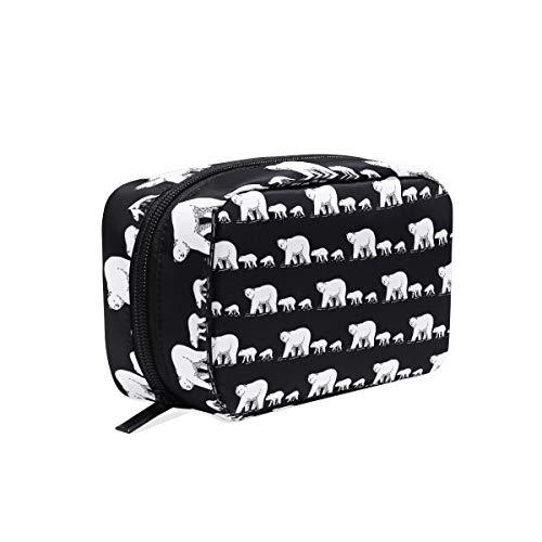 Makeup Bag Animal Polar Bear Family Pattern Cosmetic Pouch Clutch -