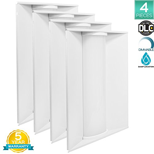 4-Pack 2x2 FT LED Troffer Panel Light, Luxrite, 40W, 4000K Cool White, 4550 Lumens, Dimmable, 24x24 Inch LED Drop Ceiling Light, Damp Rated, UL Listed and DLC Listed