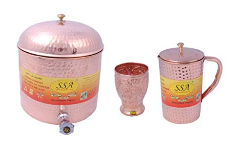 (SHIV SHAKTI ARTS 1 Pure Copper Cylindrical Shape Tank/Container Pot Capacity 12 Litre with Lid & 1 Copper Glass Multi Design & 1 Copper Hammered Jug 1500ML::Water Drinkware Set of 3)