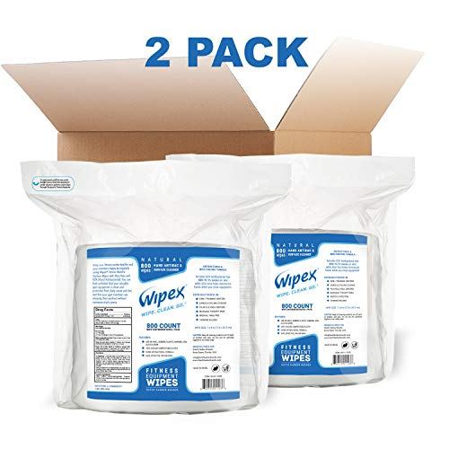Wipex Gym Wipes 1600 ct (2x800) Refill Pack for Dispensers, Cleans Hand & Surfaces - 98.9% Natural w/BZK Antibacterial, 2Pk