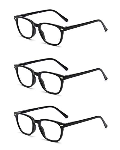 JM 3 Pack Square Reading Glasses Spring Hinge Readers Men Women Glasses for Reading +2.75 Balck