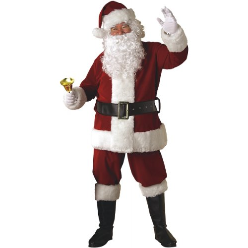 XXL Crimson Regal Plush Santa Claus Suit with Free Wig and -