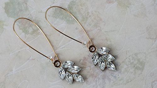 Vintage Swarovski Crystal Earrings Antique Brass Crystal Rhinestone Earrings (Brass Crystal Type)