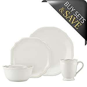 Lenox French Perle Bead 16-Piece Dinnerware Set in White