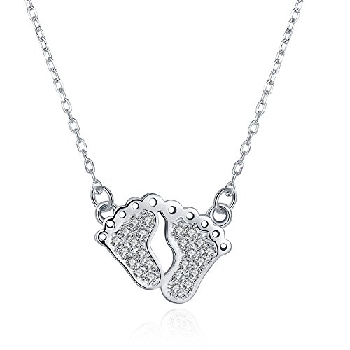 Necklace for Lovers Mom Swarovski Elements Crystal Footprint Pendant Chain Necklaces for Mom Women Teen Girls (Baby Feet)