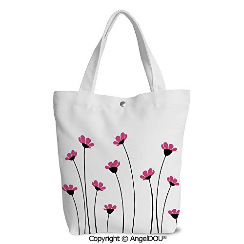 Shoulder Canvas Shopping Bag for Shopping Travel Pink Daisy Blossoms Flowery Fie