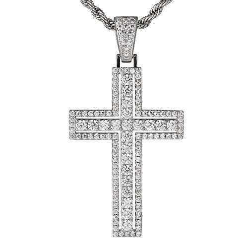 KRKC&CO Iced Out Double Layered Cross Pendant, with 3mm 22