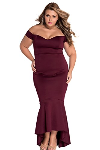 Chase Secret Womens Drop Shoulder Mermaid Asymmetric Evening Dress Small Burgundy (Shoulder Drop Fitted)