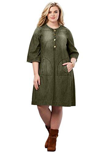 Roamans-Womens-Plus-Size-Denim-Shirt-Dress
