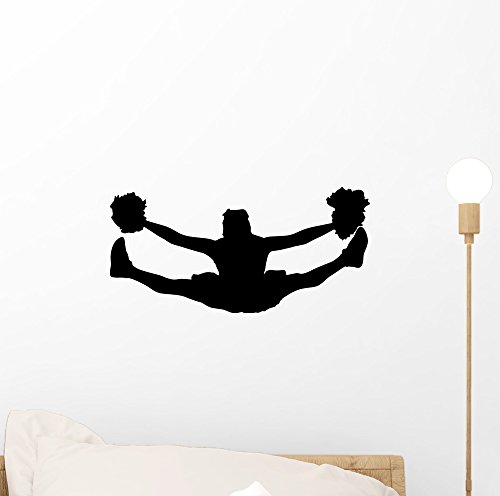 Wallmonkeys Cheer Silhouette Black Wall Decal Peel and Stick Graphic (12 in W x 6 in H) WM101666 -