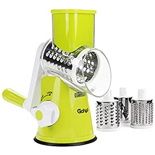 Gohyo Rotary Cheese Grater Handheld, Vegetable Chopper Mandoline Slicer, Nut Grinder, Easy Cleaning Shredder for Kitchen with 3 Round Stainless Steel Blades (Green)