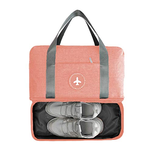 LOMAO Sports Bag Gym Bag with Shoes Compartment Hiking Travel Luggage Bag for Men and Women (Orange Pink) ()