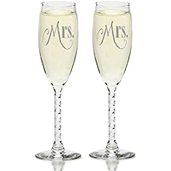 Amazon.com | Mrs. & Mrs. Gay Couple Gold Champagne Flutes