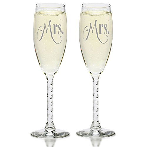 Mrs. & Mrs. Gay Couple Silver Champagne Flutes - Hers and Hers Same Sex Wedding, Engagement Toast Glass Set