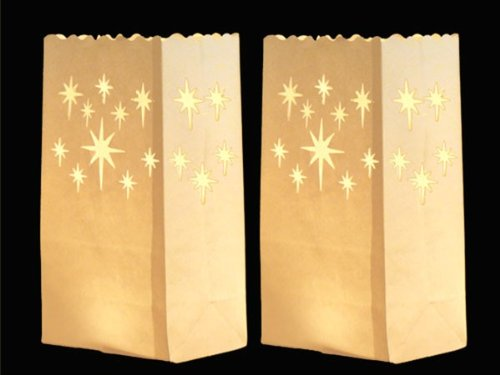 Candle Bags (Star-Shaped Cutouts) / Floor Lanterns - Illuminating Decorations that create a Candle Effect to Light Up Outdoor Spaces in the Evening, or for Romantic Dream Weddings - made from Flammable Paper (Pack of 10) White Trendmaus.de