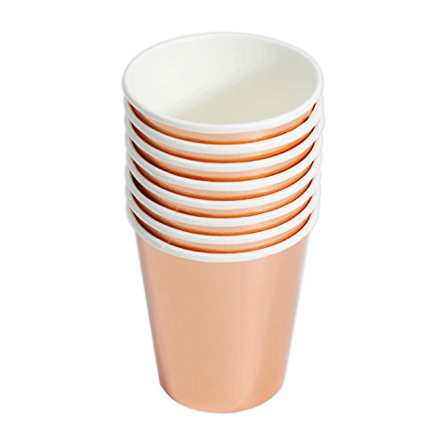 Andaz Press Rose Gold Copper Foil 9oz Paper Cups, 8-Pack, Shiny Metallic Colored Wedding Birthday Baby Shower Graduation Party Supplies Decorations Tableware