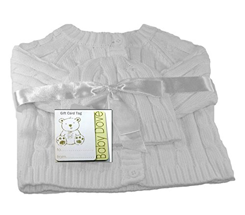 Cable Bolero - Baby Dove Cable Knit Cardigan & Beanie Set,White,0-3 Months