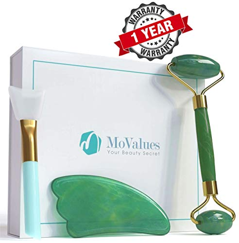 Authentic Jade Roller and Gua Sha Tools Set - Jade Roller for Face - Face Roller, Real 100% Jade - Face Massager for Wrinkles, Anti Aging - Natural, Durable, No Squeaks - with Mask Brush