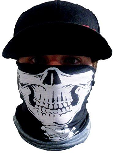 Halloween Grim Face (My Skull Store Unique Grim Reaper Skeleton Skull Neck Warmer JawBone and Neck Vertebrae Print Seamless Tubular Face Mask Wind Ski Biker Motorcycle)