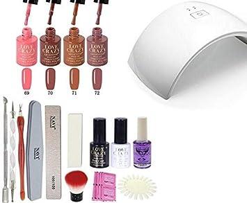 LoveCrazy 4pcs Kit De Colores 69-72 en Gel Manicura Semipermanente + TopCoat y BaseCoat UV