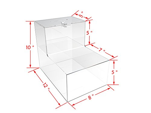 FixtureDisplays 8x10x12'' Locking Acrylic Fundraising Donation Box Coin Container with Cam Lock + Product Compartment Give N Take 15945-NF by FixtureDisplays