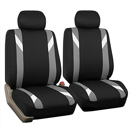 FH Group FB033GRAY102 Bucket Seat Cover (Modernistic Airbag Compatible (Set of 2) Gray) ()