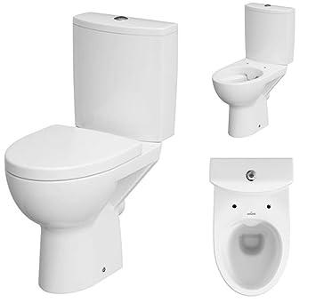 VBChome Keramik Stand- WC Toilette Komplett -Design- Set mit Spülkasten WC-  Sitz aus Duroplast mit Absenkautomatik SoftClose-Funktion für waagerechten  ...