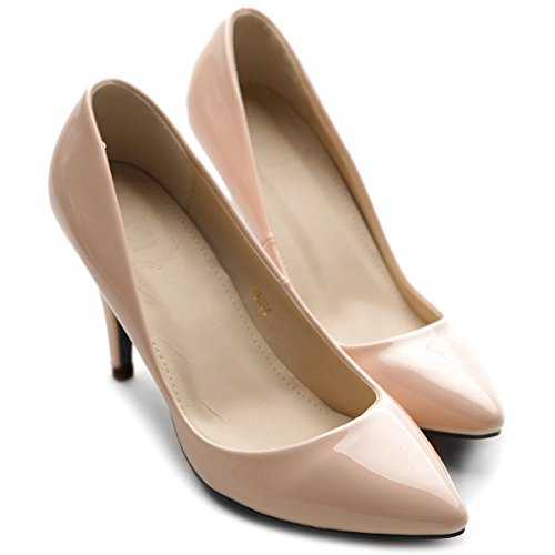 Pump Ollio Enamel Shoe Pink High Women's Pointed Skin Toe Heel Stiletto qxHqwB8a