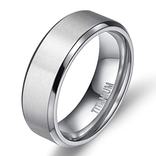 TIGRADE 8MM Men's Titanium Ring Wedding Band with Flat Brushed Top and Polished Finish - Platinum 8mm Band Wedding