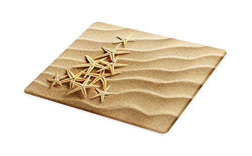 Ambesonne Coastal Cutting Board, Triangular Shaped Multiple Starfish on Sand Calmness Simplicity Sea, Decorative Tempered Glass Cutting and Serving Board, Large Size, Dark Sand Brown Pale Camel
