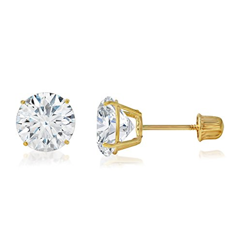 (Ioka - 14K Yellow Gold Round Solitaire Cubic Zirconia CZ Stud Screw Back Earrings - 0.75ct (6mm))