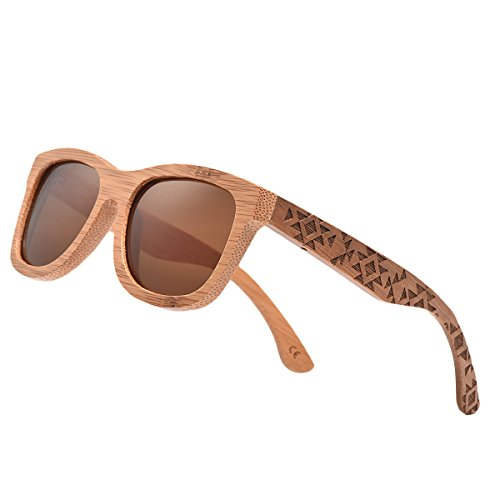 5599e49f8c Bamboo Wood Polarized Sunglasses For Men   Women -Temple Carved Collection  - Buy Online in Oman.