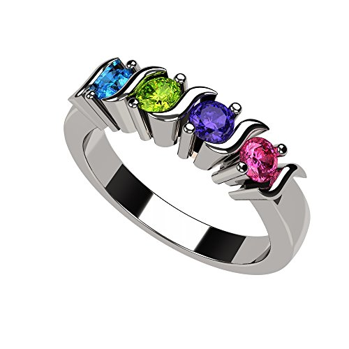 Central Diamond Center Nana S-Bar Mothers Ring 1 to 6 Simulated Birthstones- 10k White Gold- Size 8 (Calls Special Someone)