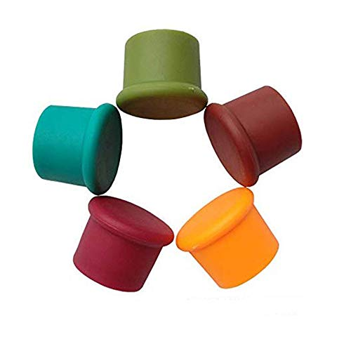 QELEG 5 Pieces Bottle Caps-Reusable and Unbreakable Sealer Covers-Silicone Stoppers to Keep Wine or Beer Fresh