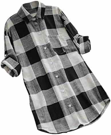 4dfe6a063e4bc2 LUCA Womens Vintage Blouse V-Neck Short-Long Sleeve Casual Long Shirt Top  Plus