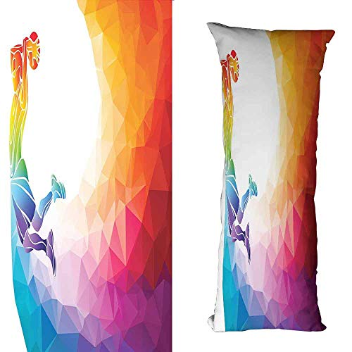 DuckBaby Breathable Pillowcase Basketball Rainbow Colored Theme with a Basketball Player Sports Man Jumps Scoring Print Machine Washable W19.5 xL63 Multicolor