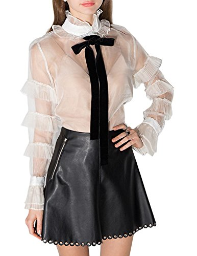 Haoduoyi Womens Casual Soft Sheer Bowknot Shirt Blouse With Tie(S,White)