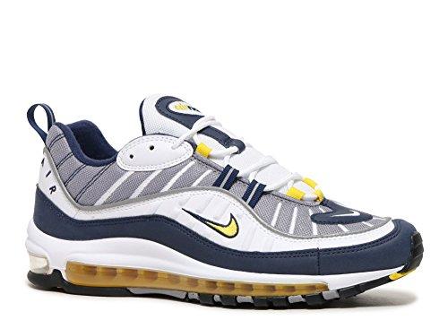 Nike Mens Air Max 98, Bianco / Tour Giallo / Blu Scuro / Giro Giallo