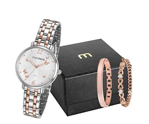 KIT Relógio Analógico Feminino Mondaine + duas pulseiras, 53826LPMVGE1K2