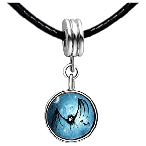 Chicforest Silver Plated Halloween bat night Photo Black Crystal Flower dangle Charm Beads Fits Pandora Bracelet