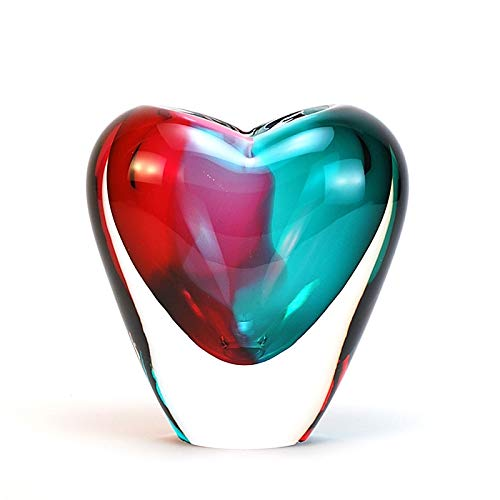 Murano Glass Design Crystal Heart Vase Aqua Ruby (Crystal Heart Design)