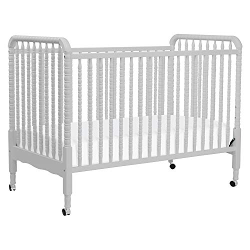 DaVinci Jenny Lind 3-in-1 Convertible Portable Crib in Fog Grey - 4 Adjustable Mattress Positions, Greenguard ()