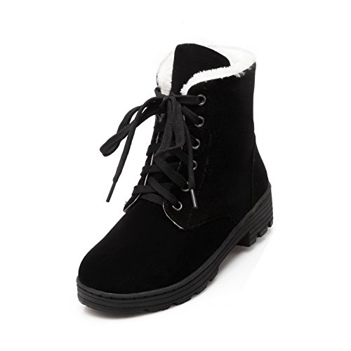 up Women's Lace Boots Closed Heels Round Frosted Toe Low Black Solid AgooLar 6xwdqCzUq